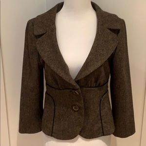 CYNTHIA CYNTHIA STEFFE BROWN TWEED JACKET TRIMMED